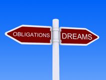 Dreams Obligations sign post Stock Image
