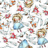 Dreams pattern. Vector seamless pattern - dolls, cats, flowers, dreams Stock Photos
