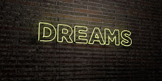 DREAMS -Realistic Neon Sign on Brick Wall background - 3D rendered royalty free stock image Royalty Free Stock Images
