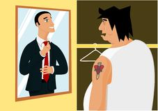 Dreams and reality. Fat man in front of mirror and his dreams Stock Images