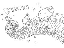 Dreams sheep black white graphic abstract doodle pattern sketch illustration Stock Photos