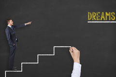 Dreams Stairs on Blackboard Royalty Free Stock Photography