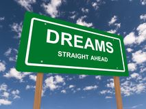 Dreams straight ahead text Stock Photos