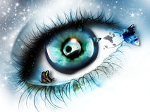 Dreams of summer. Eye with reflection of the summer landscape and butterflies on a background of falling snow Royalty Free Stock Image