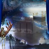 Dreams. Surreal painting. Endless dimensions. Hand of prayer. Skeleton points to the city with factory pipes. Empty bed in the sky. This image created in Stock Photo