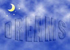 Dreams. Text with clouds texture against a sky background royalty free stock image