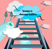Dreams to become reality. The dream was climbing the stairs Stock Photo