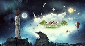 She dreams to explore space . Mixed media royalty free stock photos