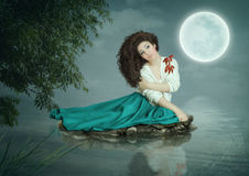 Dreams under the moon Stock Photos