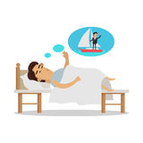 Dreams of vacation Vector Concept in Flat Design. Dreams of vacation vector concept. Flat design. Man sleeping in bed and dream about a vacation at seacoast Royalty Free Stock Photo