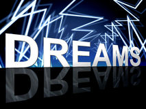 Dreams Word Shows Desire Night And Plan Royalty Free Stock Images