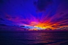 Dreamscape. Dream sunset in the Indian Ocean, Maldives Royalty Free Stock Photos