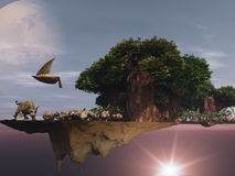 Dreamscape -- Surreal floating Island. Dreamscape Surreal floating Island and Baobab Trees Royalty Free Stock Photography