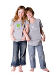 Dreamstime children. Boy and girl posing in a exclusive dreamstime shirt stock photography
