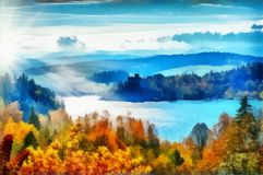 Autumn foliage in forest along lake with blue skies and clouds. A Dreamstime.com free Public Domain Image titled `Autumn Forest Along Lake` redone as a digital stock illustration