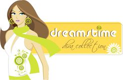 Dreamstime Diva. Vector illustration of stylish model in dreamstime attire having dreamstime logo Royalty Free Stock Photos