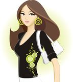 Dreamstime Diva. A beautiful young woman posing in DT apparell and accessories stock illustration