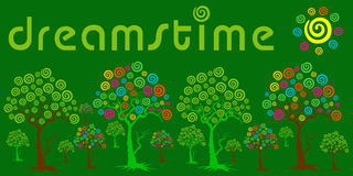 Dreamstime Garden. An illustrated background with a dreamstime logo all over a green garden, in different colors on the trees royalty free illustration