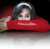 Dreamstime logo. A woman's head is tucked into the elbow of a red Dreamstime shirt stock photography