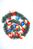 Dreamstime logo for holidays. Tinsel shaped in dreamstime logo with balls and bows and snow flakes, for christmas and holidays Stock Photo