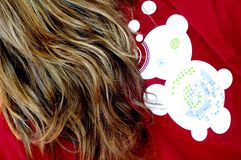 Dreamstime Shirt. A close up on a woman in a red Dreamstime shirt stock photos