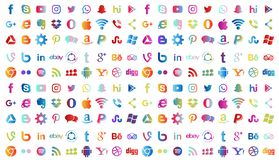 Set of popular social media logos icons in different colors Instagram Facebook Twitter Youtube WhatsApp LinkedIn Pinterest, etc. Set of popular social media stock illustration