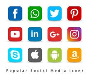 Popular social media icons. vector illustration