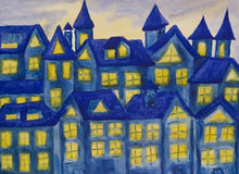 Dreamstown dark blue, watercolours. Fairy Dreamstown in dark blue colours at night, watercolour painting Royalty Free Stock Photos