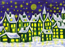 Dreamstown green, painting. Hand painted picture, watercolours, dreamstown in green colours, can be used as illustration for books for children, fairy tales Stock Photo