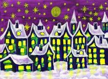 Dreamstown im Winter, malend vektor abbildung