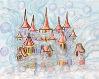 Dreamstown multicolour. Hand painted Christmas picture or illustration for fairy tales for children, watercolours, Fairy town in winter Stock Photography
