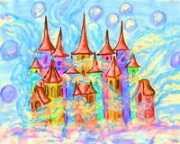 Dreamstown multicolour illustration. Christmas picture or illustration for fairy tales for children, painting watercolour, Fairy town Royalty Free Stock Photo