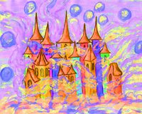 Dreamstown multicolour, illustration. Hand painted Christmas picture or illustration for fairy tales for children, watercolor, Fairy town in winter Royalty Free Stock Image