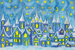 Dreamstown, painting. Hand painted illustration, watercolours - Dreamstown. Can be used as illustration for fairy tales books for children, Christmas pictures Royalty Free Stock Photo