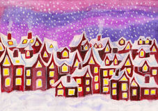 Dreamstown, in raspberry pink colours, painting. Hand painted picture, watercolours, Dreamstown in raspberry pink colours. Can be used as illustration for Royalty Free Stock Photos
