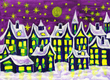 Dreamstown in winter, painting Stock Images