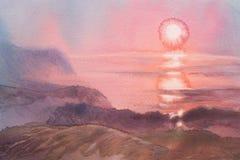 Dreamu soluppgång på denevattenfärg Arkivfoto