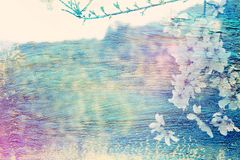 Dreamy and abstract image of cherry tree. double exposure effect with watercolor brush stroke texture. Dreamy and abstract image of cherry tree. double exposure stock illustration