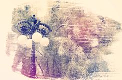 Dreamy and abstract image of vintage street lamp and white flowe. Rs. double exposure effect with watercolor brush stroke texture royalty free illustration