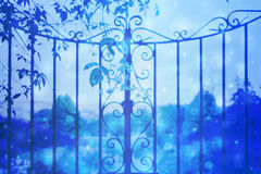 Dreamy background with beautiful garden gate with bokeh lights Stock Images
