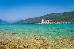Dreamy bay and small fortress on the island royalty free stock photo