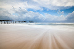 Dreamy Beach Scene Abandoned North Carolina Fishing Pier OBX Stock Image