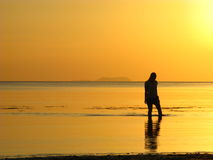 Dreamy Beach Walk at Sunset. A slim young lady's silhouette wading shallow beach waters against a stunning sunset backdrop. Notions of Dreaming, Floating Stock Images