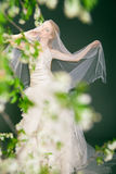 Dreamy beautiful blonde bride walking alone in the Royalty Free Stock Image