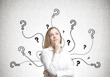 Dreamy blonde businesswoman, questions Stock Photo