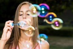 Dreamy bubble girl. Stock Photos
