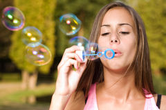 Dreamy bubble girl. Stock Photography