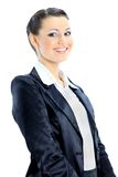 Dreamy business woman. Beautiful business woman nice smiles. isolated on a white background Royalty Free Stock Images
