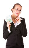 Dreamy business woman with euro cash money Stock Photo