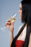 Dreamy champagne girl. Royalty Free Stock Images